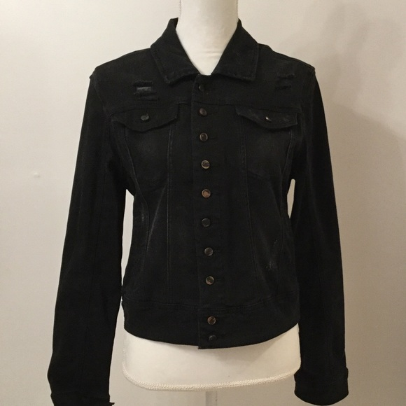 Blank NYC Jackets & Blazers - BLANKNYC BLACK DENIM JACKET MEDIUM NWT DISTRESSED